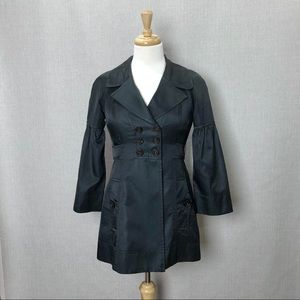 NANETTE LEPORE Black Bow Back Trench Coat Jacket